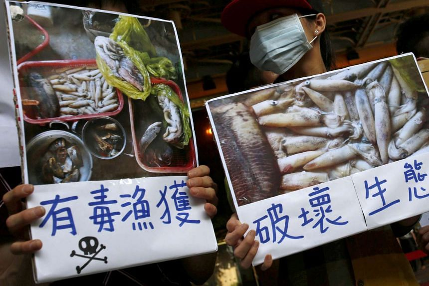Protesters call for Formosa Plastics to investigate and voluntarily disclose its own findings on massive fish deaths in Vietnam, in Taipei on June 17, 2016.