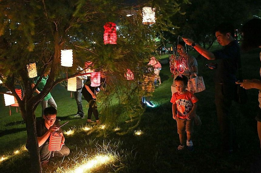 Mr Beh Kien Tai (crouching), 28, a sales coordinator at an air-conditioning company, hanging lanterns on a tree with a group of colleagues at the Bishan-Ang Mo Kio Park last night and attracting onlookers during yesterday's celebration of the Mid-Aut