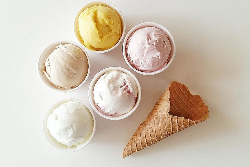 Gelato flavours at Birds Of Paradise include (clockwise from bottom) Basil, Hazelnut, Mango, Strawberry Basil and Lychee Raspberry.