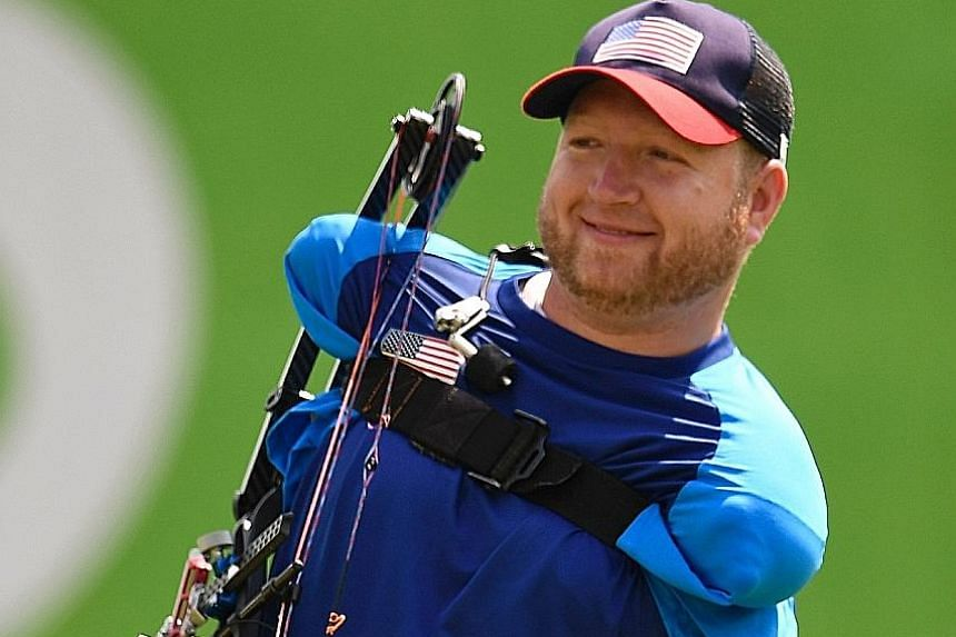 Armless US archer Matt Stutzman arriving for the individual compound qualifying. He won a silver in London but lost in the round of 16 this time.