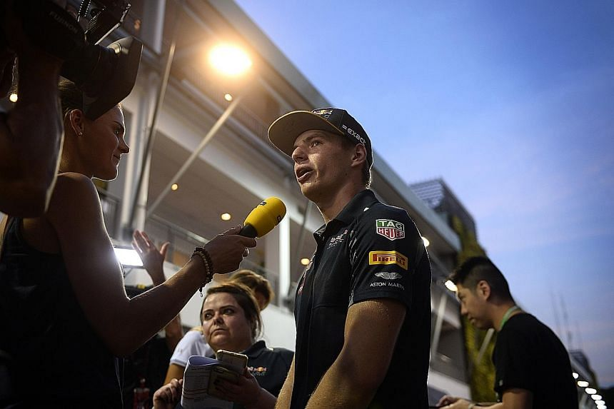 "Max Verstappen at the F1 Pit Building yesterday. ""We (the Red Bulls) are always pretty strong in low-speed corners but we still have to wait and see,"" he said."