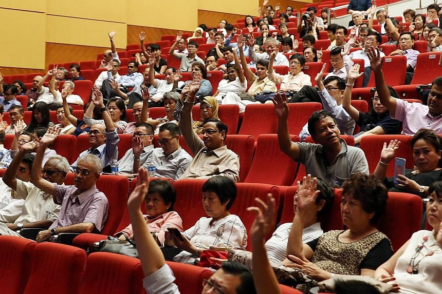 Community and grassroots leaders at the dialogue at ITE College East last night. During the session, Mr Shanmugam fielded questions and said the Government makes tweaks to the system that it feels are in the best interest of Singapore, even if the ch