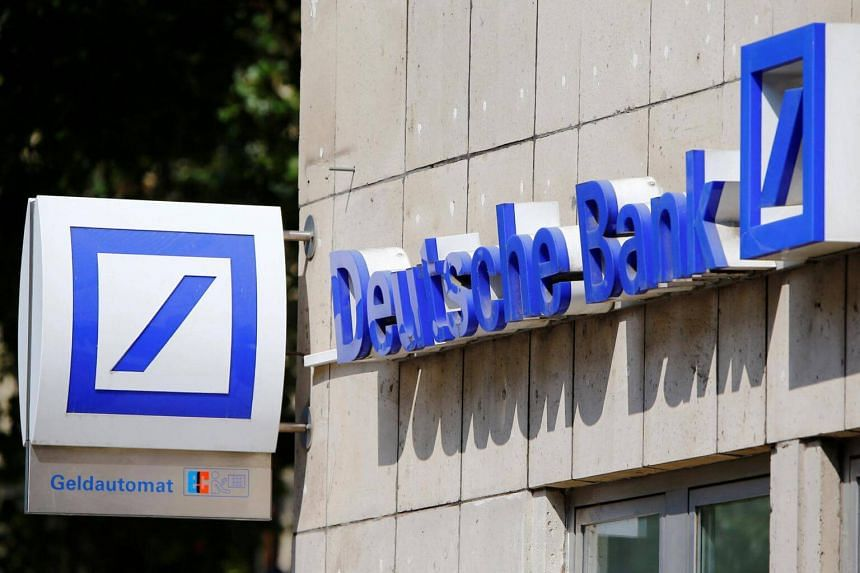 A logo of a branch of Germany's Deutsche Bank is seen in Cologne.