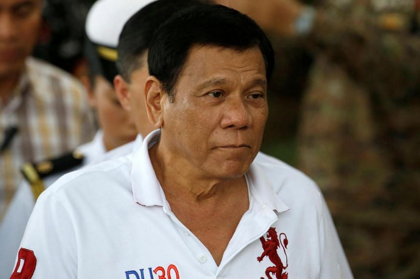 Philippine President Rodrigo Duterte arrives at the military's Camp Tecson to talk to soldiers in San Miguel, Bulacan in northern Philippines on Sept 15, 2016.