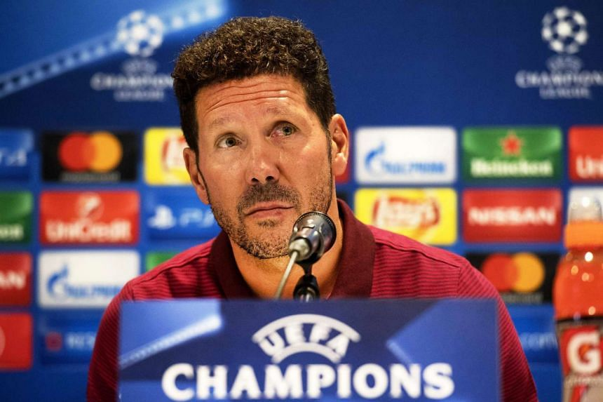 Atletico Madrid's head coach Diego Simeone attends a press conference in Eindhoven, Netherlands on Sept 12, 2016.