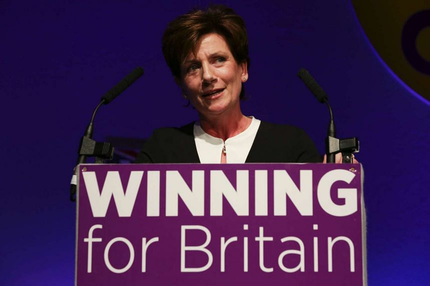 Diane James gives an address at the UK Independence Party Autumn Conference in Bournemouth, on the southern coast of England, on Sept 16, 2016.