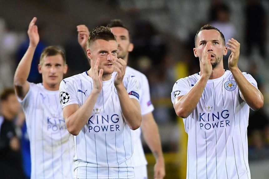 Leicester City players celebrate at the end of the Uefa Champions League match against Club Bruge.