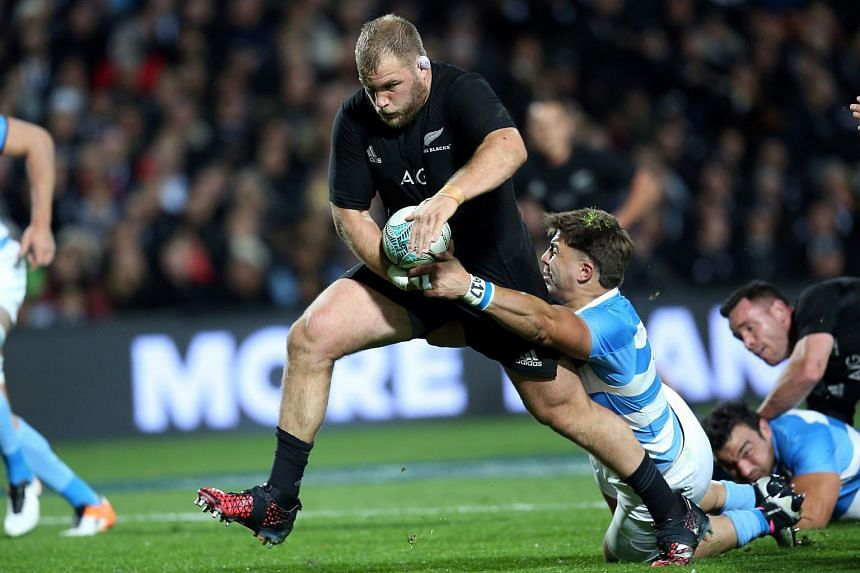 New Zealand's Owen Franks is tackled during the Rugby Championship match between the New Zealand All Blacks and Argentina on Sept 10, 2016.