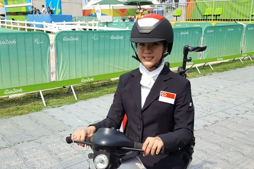 Equestrian rider Gemma Rose Foo, 20, at the Mixed zone of the Olympic Equestrian Centre in Rio.