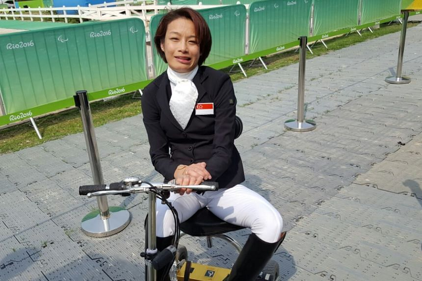 Para-rider Laurentia Tan, 37 at the mixed zone of the Olympic Equestrian Centre in Rio on Sept 15, 2016.