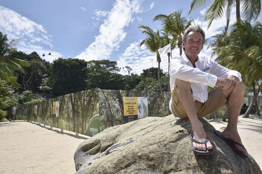 Mr A.J. Hackett (photo), who jumped off the Eiffel Tower illegally in 1987, at the Sentosa site where the bungee tower is being built.