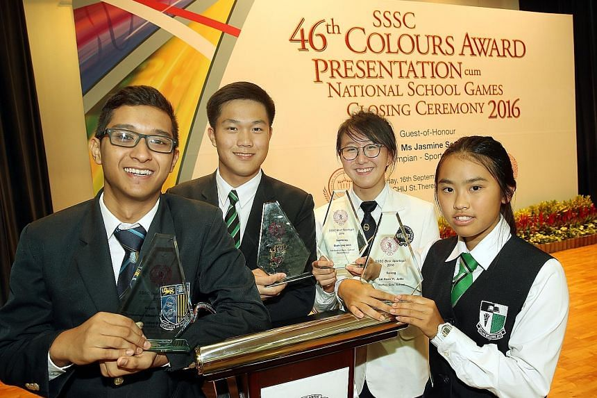 From left: Sepak Takraw player Mohammed Alfian, sailor Bernie Chin from Raffles Institution, swimmer Quah Jing Wen, and sailor Jodie Lai each picked up Best Sportsboys or Sportsgirls awards.