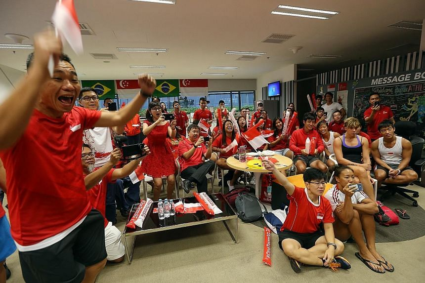 Top: (From left) Toh Boon Yi (Singapore Sports Institute chief), Minister for Social and Family Development Tan Chuan-Jin, athletes and SSI staff cheering at the SSI, as Yip Pin Xiu wins a second Rio gold. Above: About 500 current and former students