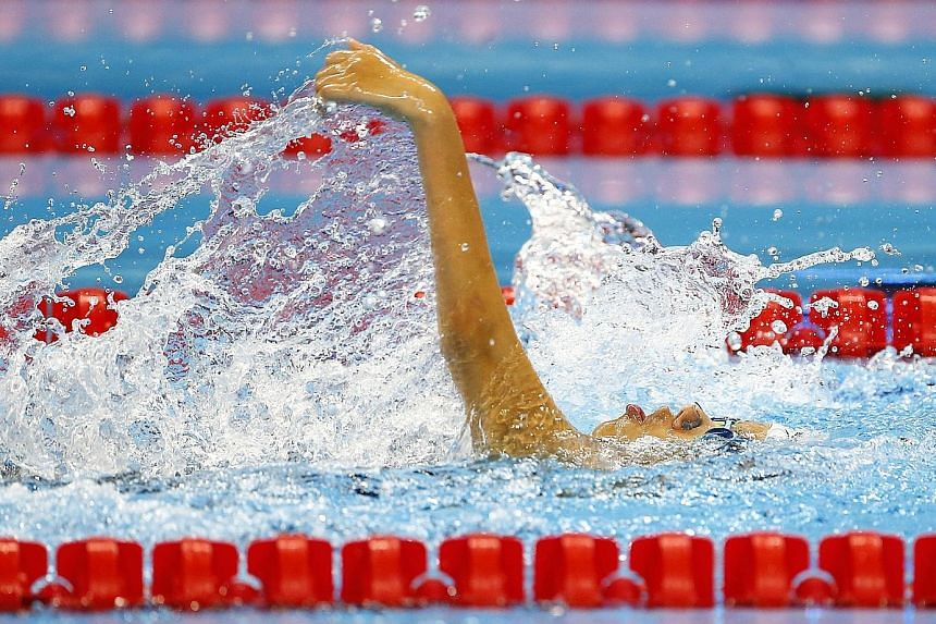 Singapore's Yip Pin Xiu competing in the women's 50m backstroke S2 final at the Rio Paralympics. Her victory in 1min 0.33sec was the result of strengthening her core and swimming as close to the surface as possible.