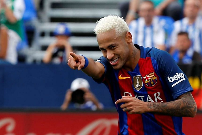 Neymar celebrates a goal.