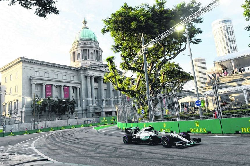 Rosberg takes a corner during the first free practice session of the Formula One Singapore Grand Prix.