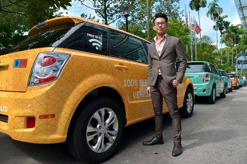 S Dreams general manager Jeremy Ng (left) is confident his fleet of all-electric e6 cars will be attractive to drivers. The e6 can run up to 400km on a complete charge, which takes up to two hours. Mr Ng said the cars are also equipped with free Wi-Fi for