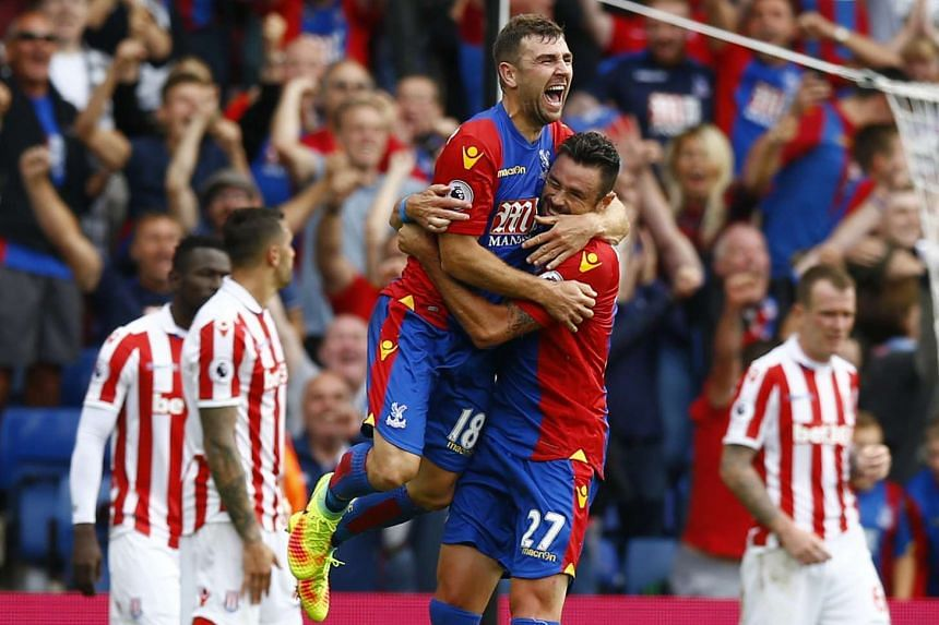 Crystal Palace's James McArthur celebrates scoring against Stoke City during their EPL match on Sept 18, 2016.