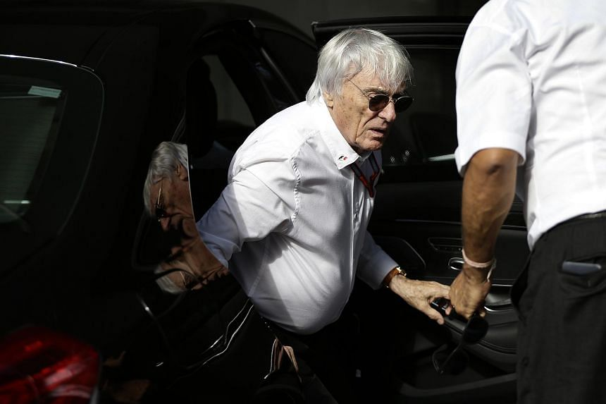 Bernie Ecclestone arrives before the first practice session of the Singapore GRand Prix on Sept 16, 2016.