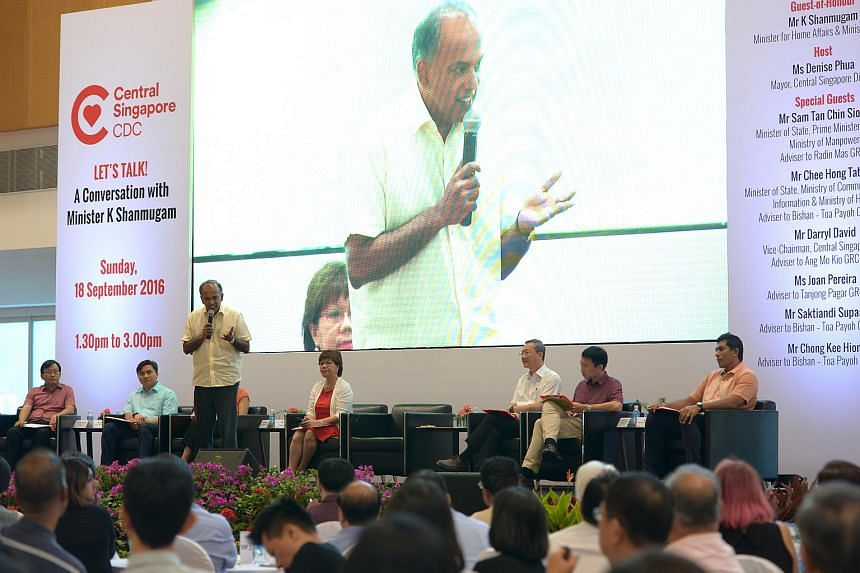 Minister for Home Affairs and Law K Shanmugam in a dialogue session on the topic of elected presidency on Sept 18, 2016.