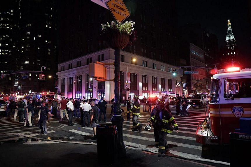 New York City Police and Fire Department on the scene of the explosion on 23rd Street between 6th and 7th Avenue in the borough of Manhattan in New York, USA, on Sept 17, 2016.