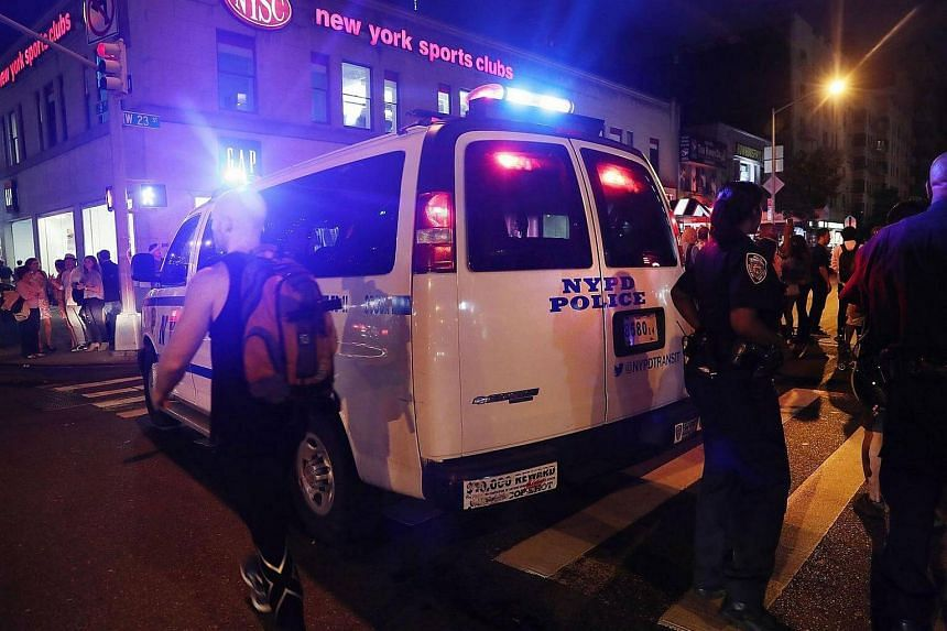 A police van at the scene of the explosion in Chelsea neighbourhood, Manhattan, on Sept 17, 2016.