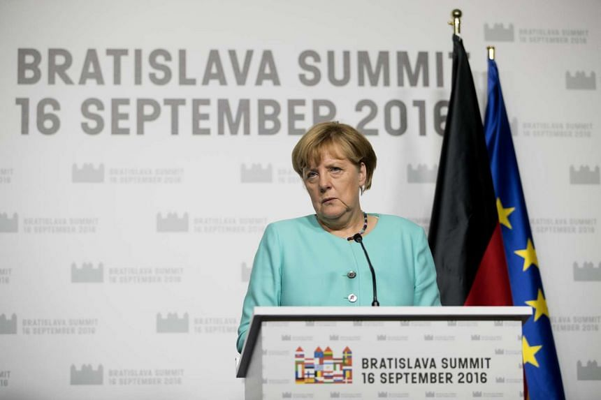 Angela Merkel speaks during a news conference following a meeting of European Union (EU) leaders on Sept 16, 2016.