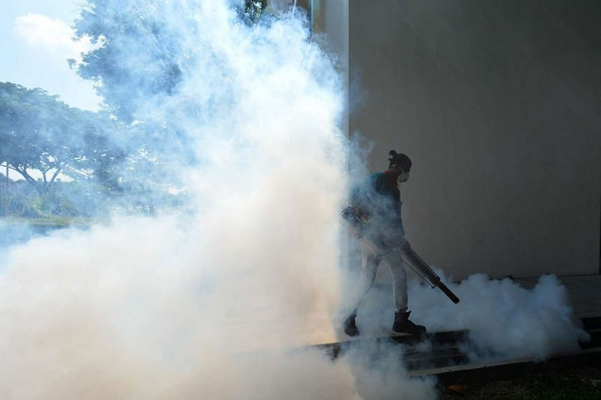 Thermal fogging being done at 56 Sims Drive on Sept 4, 2016.
