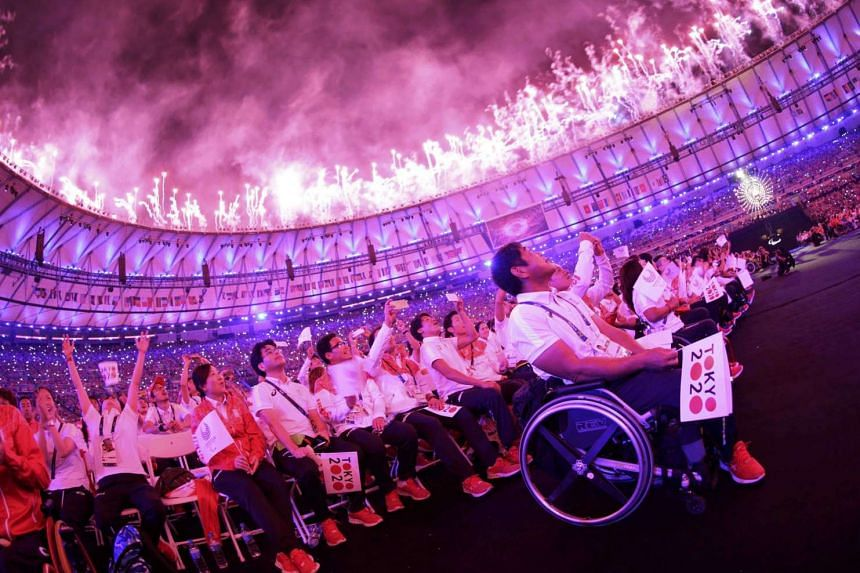 Fireworks erupt for the closing ceremony of the Paralympic Games at the Maracana Stadium in in Rio de Janeiro, on Sept 18, 2016.