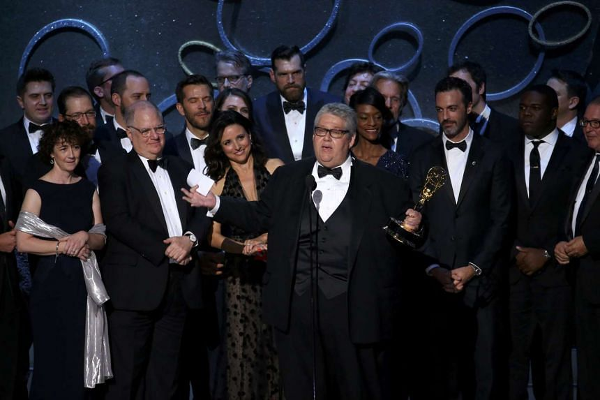 Executive Producer David Mandel accepts the award for Outstanding Comedy Series for Veep along with the cast and crew at the 68th Primetime Emmy Awards in Los Angeles, California, US, on Sept 18, 2016.