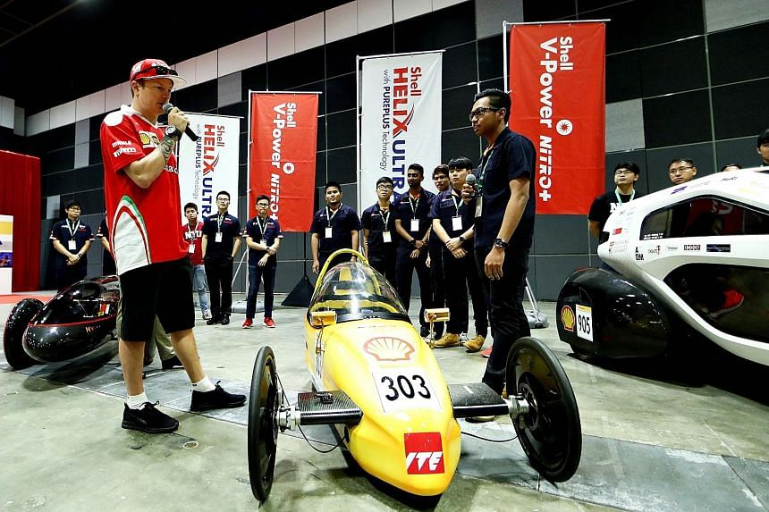 Kimi Raikkonen at the Shell Eco-marathon event on Thursday. Student teams from ITE and NTU got a chance last week to exchange ideas on fuel efficiency with the racing ace.