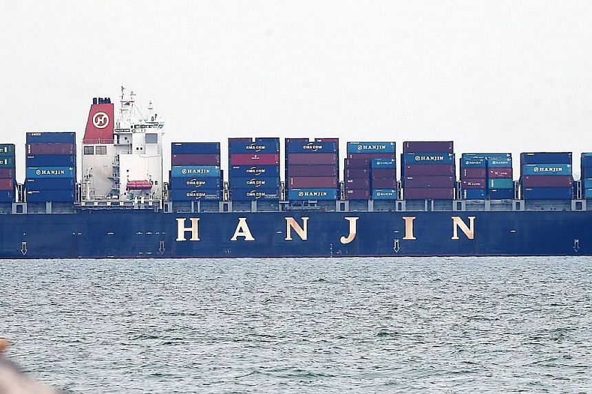 The Hanjin Rome anchored off Singapore, after being placed under court arrest on Aug 29. The High Court has since issued the order for a temporary freeze on all proceedings related to Hanjin.