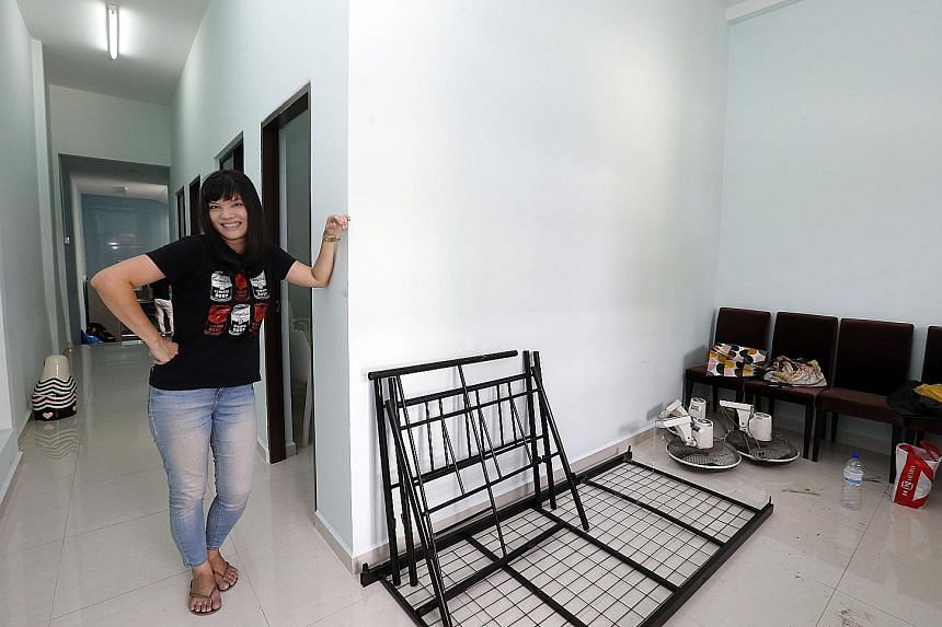 Ms Chua at the new shelter, which is a shophouse in the eastern part of Singapore. Five residents will move in at the end of the month.