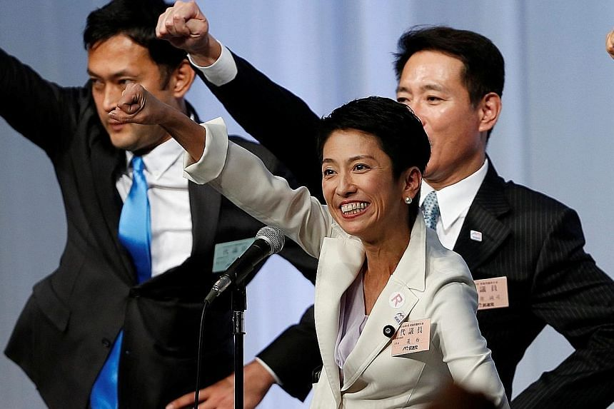 Ms Renho celebrating her election as DP leader last week. She is Japan's first female opposition leader in 30 years. She now has the tough task of repairing her party's reputation of being incompetent. Her plan, she says, is to propose actual counter