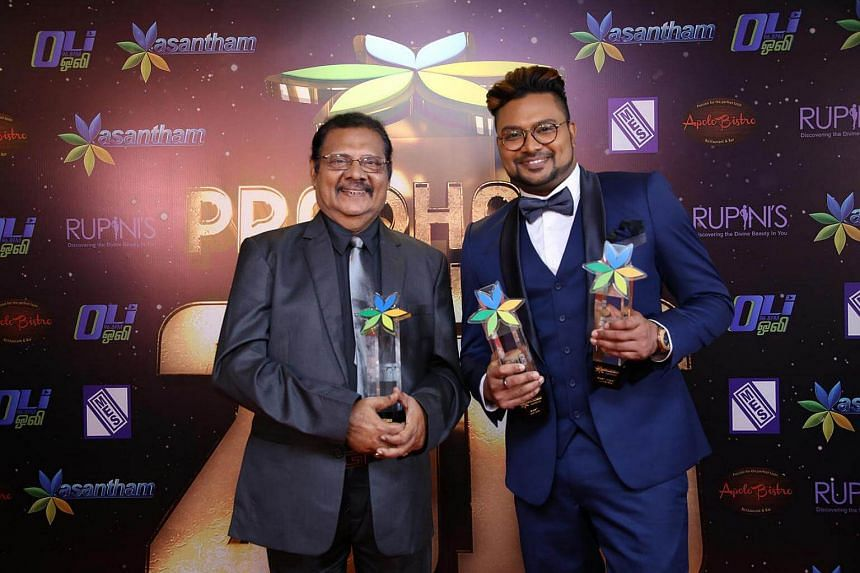 It was a father-son victory for actors Re Somasundaram (left)and Karthikeyan Somasundaram at Pradhana Vizha 2016, the annual ceremony that celebrates the best in local Indian television.