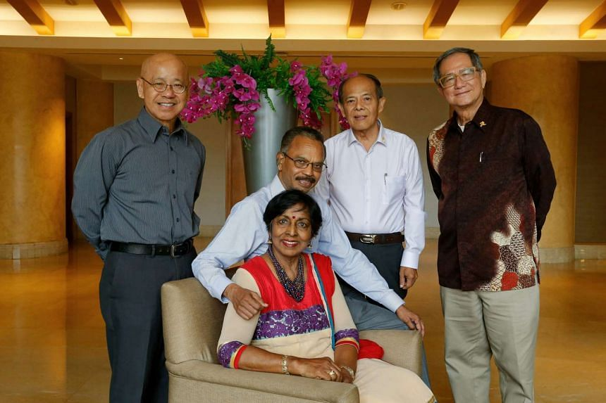 Licensed marriage solemnisers (from left) William Wan, Murugayah Suppiah, Govinda Iraq (sitting), Patrick Lau and Alfred Ang at an appreciation event on Sept 19, 2016.