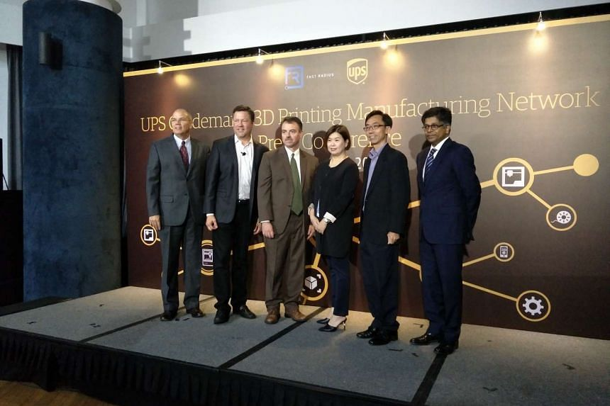 (From left) UPS vice-president of contract logistics and healthcare Asia Pacific Tom Page, Fast Radius chief executive Rick Smith, UPS Asia Pacific president Ross McCullough, UPS Singapore managing director Michelle Ho, Economic Development Board dir
