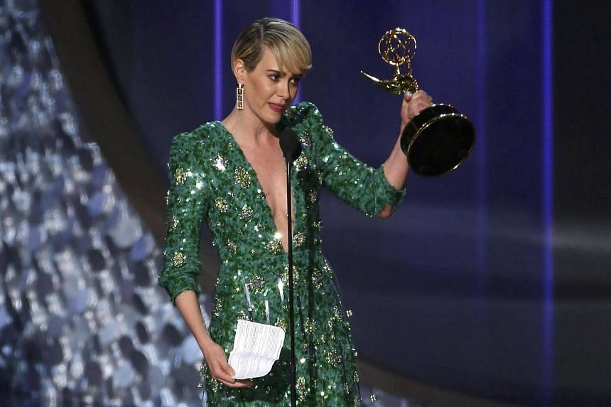 Sarah Paulson accepting the award for Outstanding Lead Actress In A Limited Series Or Movie for The People V. O.J. Simpson: American Crime Story at the 68th Primetime Emmy Awards in Los Angeles, on Sept 18, 2016.