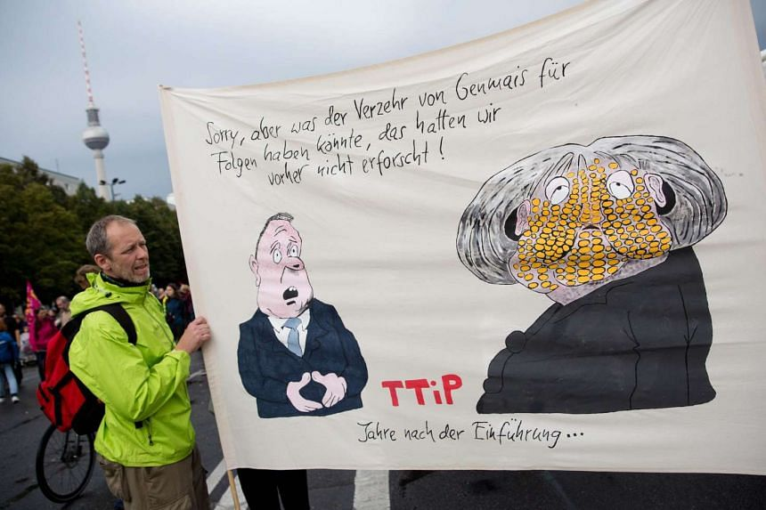 An activist carries a banner with a caricature of German Chancellor Angela Merkel (R) and slogan reading: 'Sorry, we have not previously explored what consequences the consupmtion of GM maize could have! TTIP Years after its introduction ...