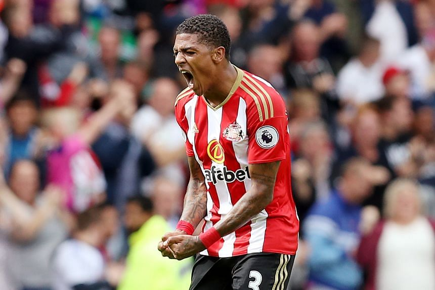 Sunderland's Patrick van Aanholt celebrates scoring against Middlesbrough on Aug 21, 2016.