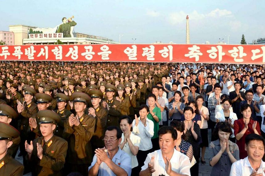 A rally celebrating the success of a recent nuclear test at Kim Il Sung square in this undated photo released by North Korea's Korean Central News Agency in Pyongyang on Sept 13, 2016.