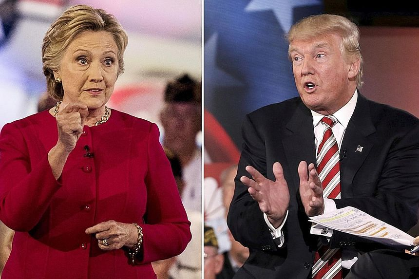Mrs Hillary Clinton and Mr Donald Trump at NBC's Commander-in-Chief Forum in New York on Sept 7. When Mrs Clinton and Mr Trump step on the debate stage together for the first time next week, it will be political theatre on the scale of the Super Bowl