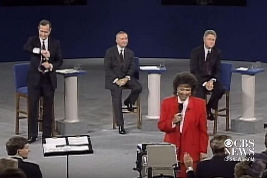 In the 1984 US presidential election debate, incumbent Ronald Reagan (left) gave a witty response to a question about his age, drawing laughs from the audience and even his rival Walter Mondale. In 2000, then Vice-President Al Gore (left) made a loud