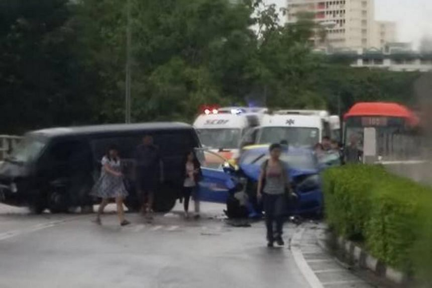 The accident appeared to involve a van and a taxi.