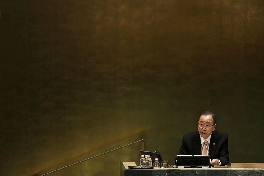 United Nations Secretary General Ban Ki Moon presides over the starting session of the United Nations General Assembly on Sept 20, 2016.
