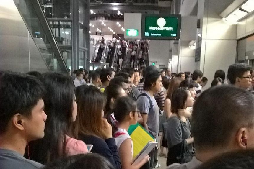 The crowd at Serangoon station on the Circle Line at around 7.30am.