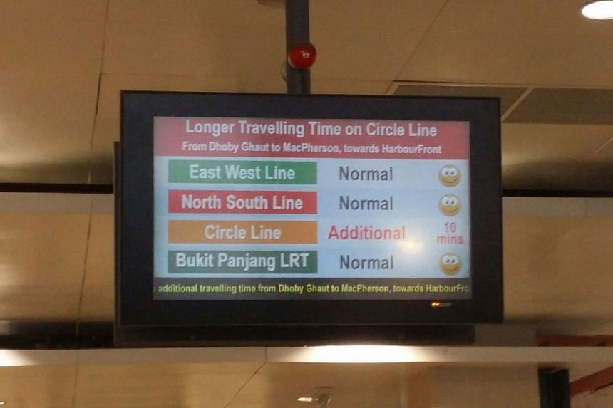A message at Bishan station informing commuters of an additional 10 minutes travelling time on the Circle Line.