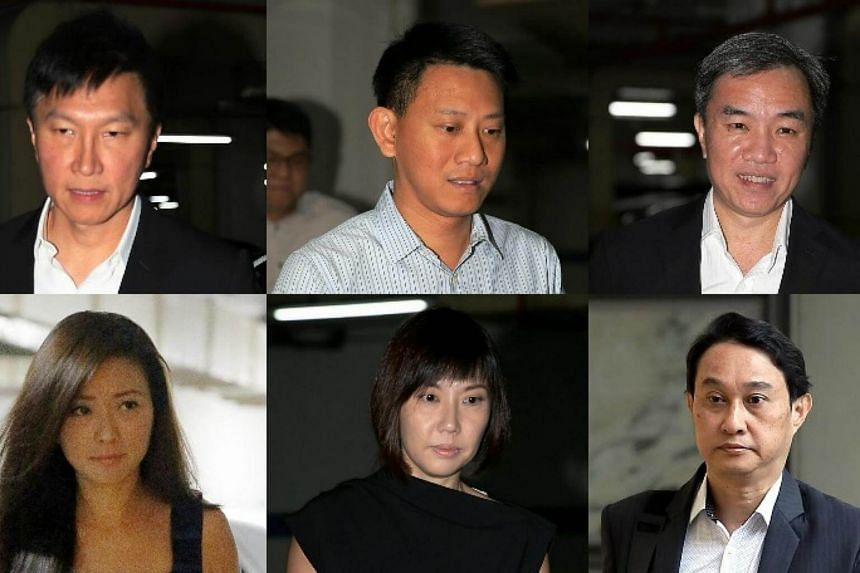 The six City Harvest Church leaders (clockwise from top left) Kong Hee, Tan Ye Peng, John Lam, Chew Eng Han, Sharon Tan and Serina Wee arriving at the Supreme Court on Tuesday.