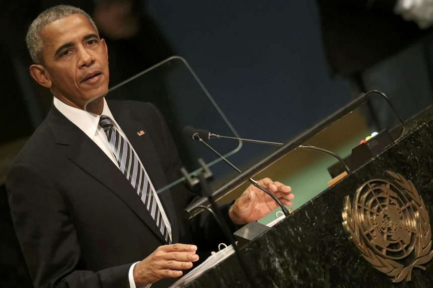 Obama addressing the United Nations General Assembly on Sept 20, 2016.