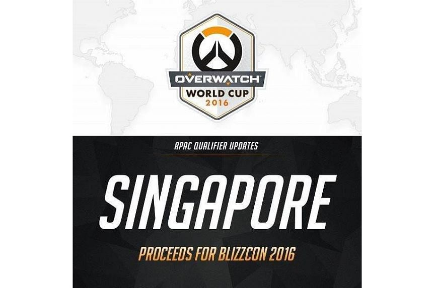 Singapore will be one of 16 countries competing in the Overwatch World Cup at the offline finals, which will be held at the video game convention BlizzCon in the United States in November.